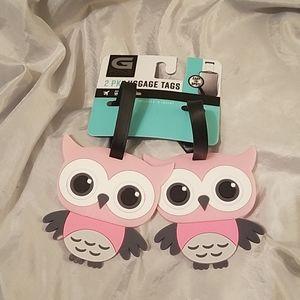 Luggage tag 2pk set owl new on card